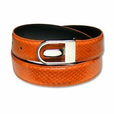 Men's Snake Skin Belt ORANGE Genuine SnakeSkin Mens Bonded Leather Belt & Buckle