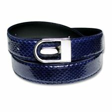 Men's Snake Skin Belt ROYAL BLUE Genuine SnakeSkin Bonded Leather Belt & Buckle