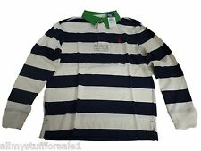 Ralph Lauren Boys Long Sleeve Blue White Polo Top Rugby Shirt L/S 10/M NEW Age 8