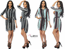 Ladies Womens Stripe Print Long Sleeve Belted Button Shirt Dress Blouse Top 816