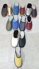 Athena Handmade Women Leather Scuffs Slippers w 100% Natural Sheep Wool Fur