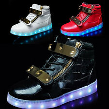 New Children LED Shoes High Light Up Boys Girls Casual Luminous Sneakers metal