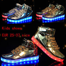 Kids Boys Girls 7 LED Shoes Light Up Luminous Children Trainers Casual Sneakers