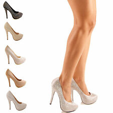 LADIES WOMENS HIGH STILETTO HEEL PLATFORM DIAMANTE BRIDAL PROM COURT SHOES SIZE