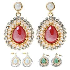 Woman Statement Crystal Rhinestone Resin Gem Stone Ear Studs Dangle Earrings