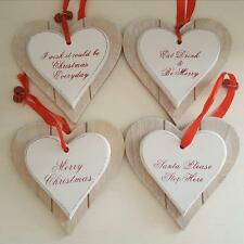 MERRY CHRISTMAS SANTA STOP HERE WOODEN DOUBLE LAYER CHIC N SHABBY HEART PLAQUE