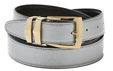 Reversible Belt Bonded Leather with Removable Gold-Tone Buckle SILVER / Black
