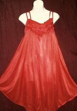 RED,SOLID, NIGHTGOWN,CHEMISE,W/ROSETTES BODICE,DOUBLE SPAGHETTI STRAP- XL-#226