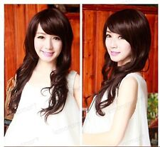 Long Side Swept  Bangs Curly Wavy Elegant Full Wig - Dark Brown