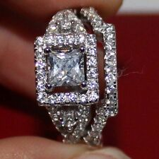 Size 6-10 Handmade Womens 925 Silver Square White Sapphire Wedding Band Ring Set