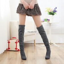 Fashion Women Faux Suede Casual Women Over Knee Stretchy High Heel Boots HE8Y