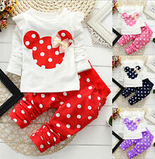 2 Pcs Cute Cartoon Suits Leggings Polka Dot Baby Kids Girls Clothing Sets New
