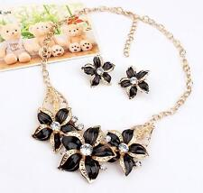 Jewelry Charm Necklace Earrings Crystal Flower Woman Statement New Set