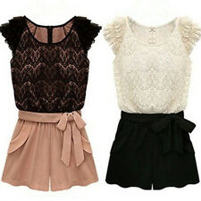 Women's Korean Style One-piece Pants Lace Top Jumpsuit Belt Shorts Novelty