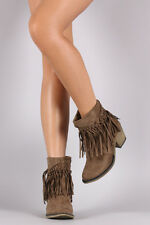 Dallas-08 Taupe / Suede Studded Fringe Chunky Heeled Western Ankle Boots