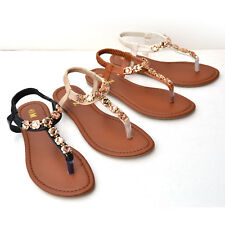 BB-A1 Women Gladiator Sandals Flat Rhinestone Elastic T-Strap Shoes Size 5-10