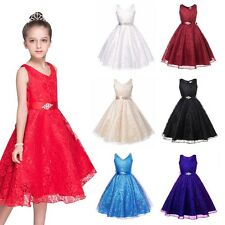 2-13Y Kid Girl Princess Flower Tutu Dress Party Pageant Wedding Bridesmaid Dress