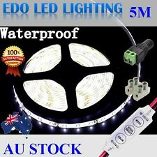 Waterproof 12V Cool White 5M 3528 SMD 300 LED Strips Led Strip Lights + Dimmer