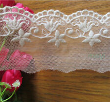 off White 6.0cm Width Cotton Lace Trim Embroidered Net Mesh Ribbon Sewing Craft