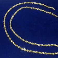 """Men 24"""" Rope Chain Necklace 4mm Real 14k Yellow Gold Premium Plated"""