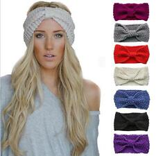 Women Bow Flower Hairband Headband Crochet Knit Wool Headwrap Ear Winter Warmer