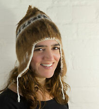 Alpaca Knitted Adult Chullo Hat with Earflaps - fairly traded - made in Bolivia
