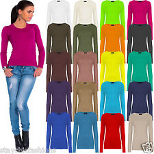 New Ladies Womens Plain Stretch T Shirt Round Scoop Neck Tee Top Fitted 8-12