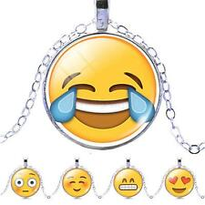Silver Plated Jewelry Emoji Glass Cabochon Choker Pendant Necklace for Women