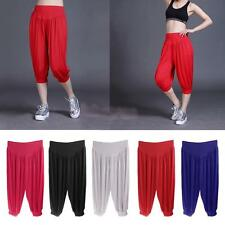 Ladies Women 3/4 Harem Yoga Pants Baggy Short Cropped Ali Baba Loose Trousers