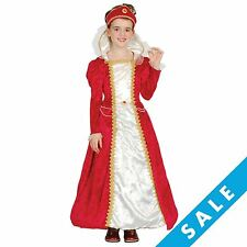 Girls Red Tudor Princess Book Week Medieval Queen Victorian Fancy Dress Costume