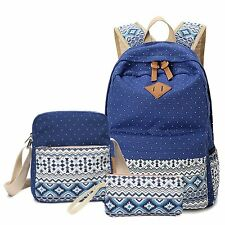 Backpack W/ Shoulder Bag and Purse Canvas School Backpacks Book Bags for Girls