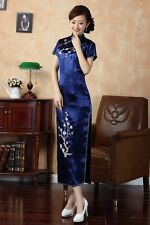 Elegant Chinese Women's Silk Long Dress Cheong-sam Party Skirt SZ S-3XL DarkBlue