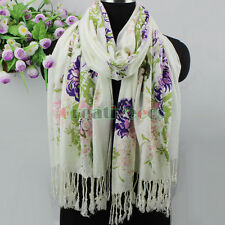 New Fashion Women's Exquisite Beauty Flowers Soft Twill Tassel Long Scarf Shawl