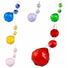 Glass Crystal Ball Pattern Iridescent Ornament Iron Ring DIY Blue/Pink/Red 5Pcs