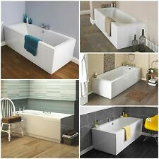 NEW Single Double Ended White Bathtub Acrylic Straight Bath Bathroom MDF Panels