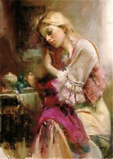 pino daeni Hand Painted Portrait Oil Painting on Canvas Wall Art beautiful girl