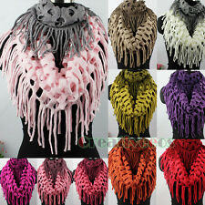 Women Hollow Out Net Tassel 2-Tone Knit Shawl Infinity Loop Cowl Circle Scarf