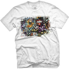 Men's Fifty5 Clothing Vintage Tattoo Graffiti T Shirt White Ink Art