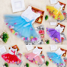 Toddler Baby Girl Pageant Tulle Dresses Princess Flower Bow Dress Wedding Party