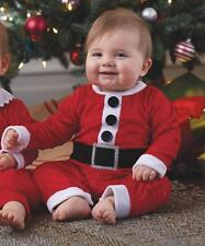 Mud Pie Christmas Boys Santa Suit Baby Red Minky Santa Claus 1-Pc Outfit Romper