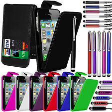 PU Leather Flip Case Cover LCD Film & 3 Stylus Pen Set For Apple iPhone 4 & 4S