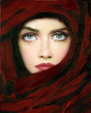 100% Hand-painted Portrait Oil Painting Art on Canvas Impressional The Veil Girl
