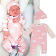 Newborn Infant Baby Kids Long Sleeve Rompers Girls Bodysuit Hat Jumpsuit Outfits