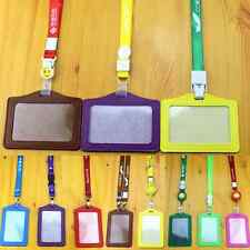 Multi Colors ID Badge Holder Leather Case with Lanyard Vertical / Horizontal
