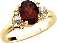 14k Yellow Gold Garnet & Diamond Oval Cut Solitaire Ring - 0.504 Cttw