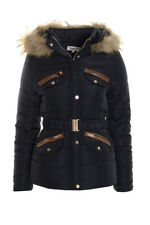 Women's Quilted Jacket Coat Ladies Faux Fur Trim Hood Padded Warm Coat Jacket