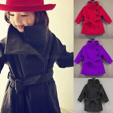 Toddler Kids Baby Girls Autumn Warm Woolen Trench Coat Outerwear Jacket Clothes