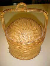 Vintage Antique Round Wicker Woven Basket w/Round Humped Lid Handle Hook
