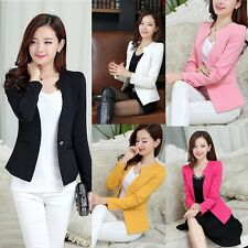 Women Slim Blazer Coat Casual Jacket Long Sleeve One Button Suit Work Wear