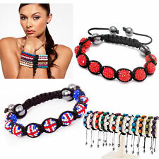 Fashion 10mm Resin Crystal Disco Ball Hematite Beads Braid Adjustacle Bracelet